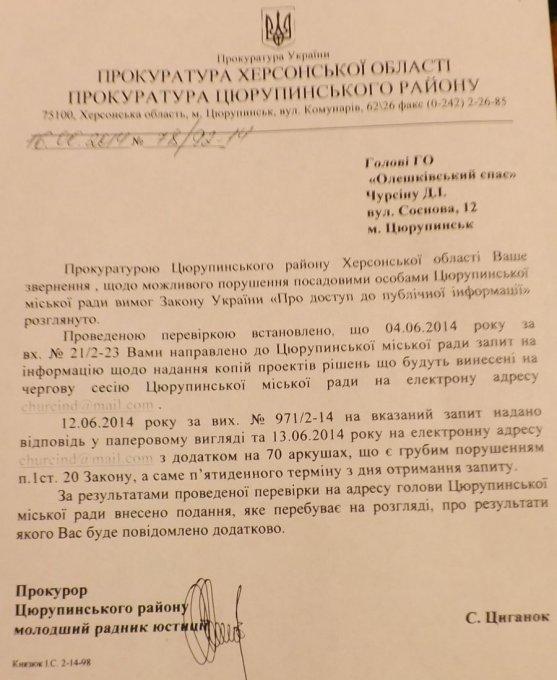 Цюрупинский городской совет грубо нарушает законы Украины