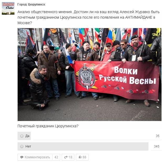 Открытое письмо от цюрупинчан относительно участия Алексея Журавко на антимайдане в Москве