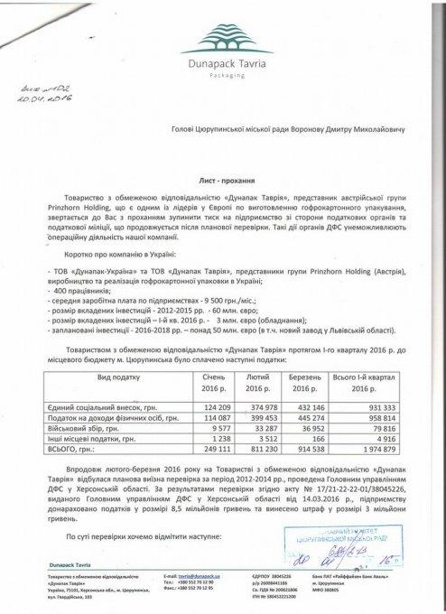 """До Цюрупинського міського голови звернулось керівництво підприємства """"Дунапак Таврія"""""""
