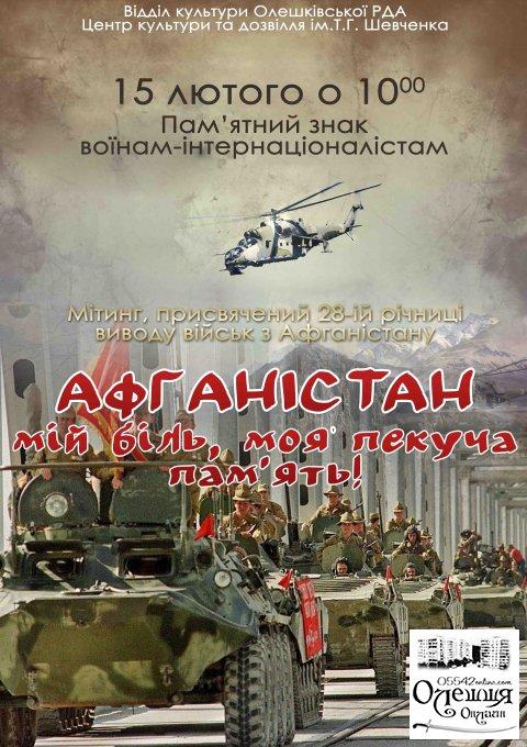 Мітинг, присвячений 28-ій річниці виводу військ з Афганістану