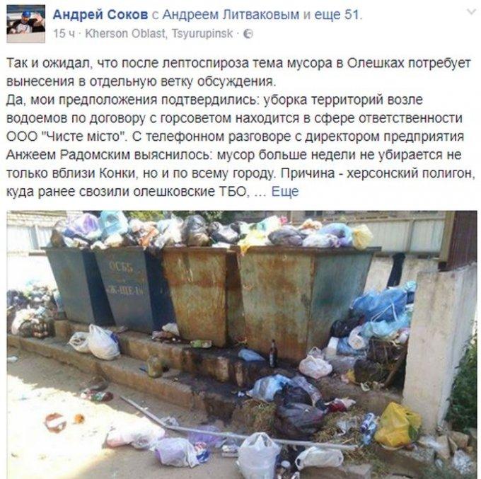 Преступная бездеятельность Олешковской РГА ставит город на грань экологической катастрофы