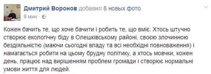 Дмитрий Воронов дал комментарий относительно истерик местных чиновников из Олешковской РГА