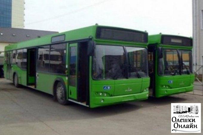 З 1 лютого в Олешках по вул. Софіївська міські автобуси функціонують за додатковим графіком
