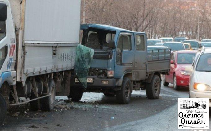 Возле Олешек столкновение двух грузовиков, случившееся при достаточно нелепых обстоятельствах
