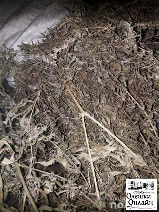 Ночью в олешковском лесу полиция обнаружила трех браконьеров и изъяла мешок конопли