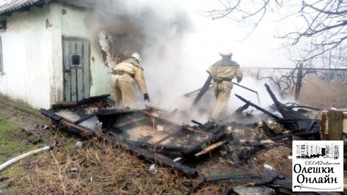 Жительница Олешек сожгла свой сарай
