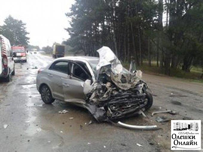 Смертельное ДТП под Олешками: пострадавших из разбитых авто доставали с помощью спасателей