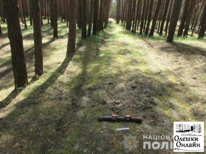 В лесу вблизи города Олешки полицейские-взрывотехники уничтожили гранатомет