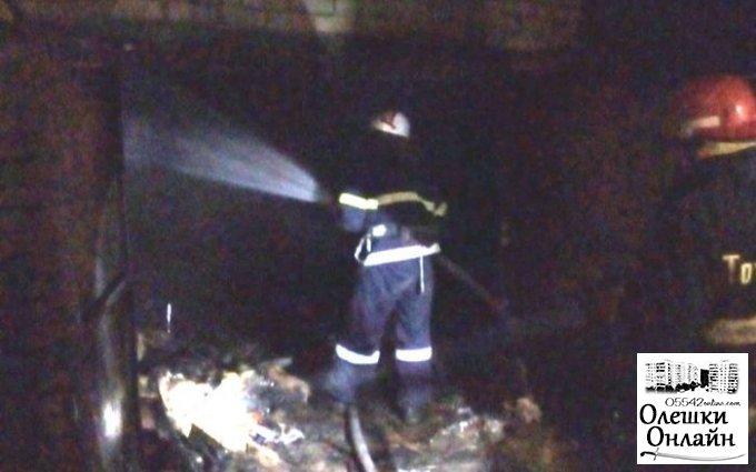 В Олешковском районе спасатели тушили пожар в гараже и летней кухне