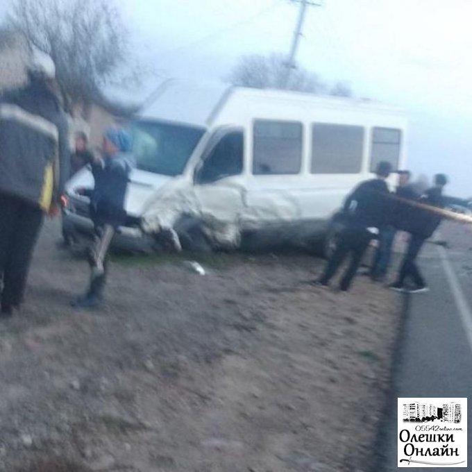 В Олешковском районе произошло серьёзное столкновение микроавтобуса и легковушки