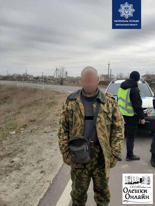 Патрульная погоня за камышовым поджигателем в Олешковском районе