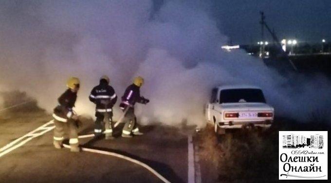 Подробиці вчорашнього загорання легкового автомобілю на трасі біля Олешок