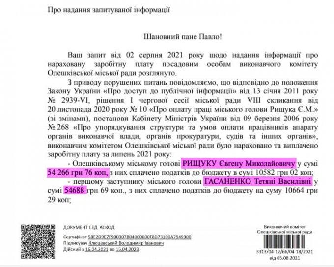 Сколько за июль в Олешках заработали Рыщук, Гасаненко и её сын